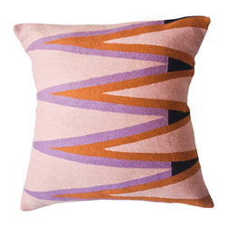 Ira Zig Zag Pillow - Hand-embroidered by women artisans in north India, these geometric pillows in a warm color palette are perfect as Fall accents.