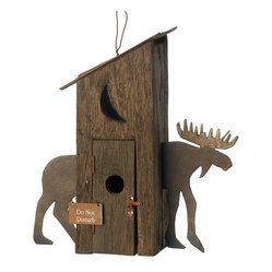 KOOLEKOO - Moose Hut Birdhouse - Rough, rustic and utterly adorable, this crafty birdhouse is a country charmer indeed! Cunningly fashioned to resemble an old-fashioned outhouse, with a metal-cutout moose standing guard.