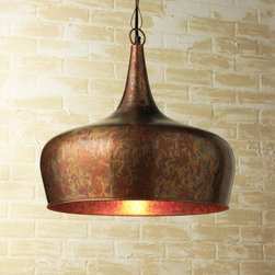 Copper Onion Dome Pendant - The oxidized copper finish and the dome shape of this pendant are so striking. I could totally see it in a kitchen with all-white cabinets and a chef's stove with a matching copper hood.