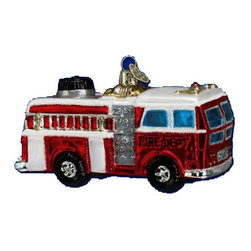 "OLD WORLD CHRISTMAS Glass Ornament ""Fire Truck"" - This beautiful glass ornament was carefully mouth-blown into a finely crafted mold. Then a hot solution of liquid silver was poured inside. Finally the ornament was delicately hand painted with many bright lacquers and glitters for you to enjoy! 4"" tall. The perfect holiday ornament keepsake. Hand painted graphicsIncredible details and craftsmanship. Bright lacquers and glitter for extra shimmer. Made of hand blown glass."