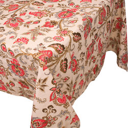 """Enchante Accessories Inc - Raymond Waites Rectangular Table Cloth - 60""""x 84"""" (Pali) - Premium quality 100% cotton table linen with finished seam"""