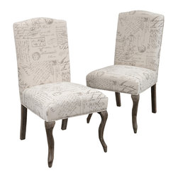 Great Deal Furniture - Crown Back French Script Beige Fabric Dining Chairs (Set of 2) - The Crown dining chairs offer an old-time elegance to your dining space. These chairs feature beige linen with French handwriting script pattern and carved espresso weathered oak legs. For a unique and classic look, place these in your dining room, or as accent pieces in your bedroom or living room.