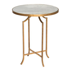 Kathy Kuo Home - Fiji Hollywood Regency Gold Leaf Antique Mirror Round End Table - Set of 2 - Our romantic, antique mirror side table is exquisitely shaped and reflects your flare for the dramatic. The svelte style fits in small spaces. The delicately designed antique gold leaf base contrasts with the antique mirror round top.