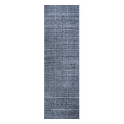 None - Hand-loomed Denim Boxes Blue Wool Runner (2'6 x 8') - A unique geometric denim-style pattern highlights this hand-loomed wool runner. This area rug features a solid blue color.