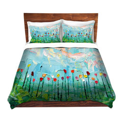 DiaNoche Designs - Duvet Cover Microfiber - Stories from A Field Act lxxxi - DiaNoche Designs works with artists from around the world to bring unique, artistic products to decorate all aspects of your home.  Super lightweight and extremely soft Premium Microfiber Duvet Cover (only) in sizes Twin, Queen, King.  Shams NOT included.  This duvet is designed to wash upon arrival for maximum softness.   Each duvet starts by looming the fabric and cutting to the size ordered.  The Image is printed and your Duvet Cover is meticulously sewn together with ties in each corner and a hidden zip closure.  All in the USA!!  Poly microfiber top and underside.  Dye Sublimation printing permanently adheres the ink to the material for long life and durability.  Machine Washable cold with light detergent and dry on low.  Product may vary slightly from image.  Shams not included.