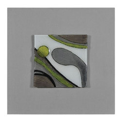 Ren-Wil - Motion I Abstract Wall Art - Molded glass with a painted abstract design sits on a linen covered canvas in fun greens and warm browns.