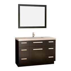"Design Element - Design Element Moscony 48"" Modern Single Sink Vanity Set, Espresso, 48 X 22 X 36 - Being twice as hard as granite, harder than steel and titanium, and possessing a hardness just below that of gemstones, quartz is somewhat of an ideal material for making countertops. It's hygienic, because bacteria can't penetrate the surface, and practically maintenance-free since no sealing, polishing, or reconditioning is required. Moreover, quartz doesn't stain and is more heat-resistant than other countertop materials.The Moscony vanities have solid hardwood construction, simple lines, wide and substantial door and drawer handles, and a dark espresso finish. These features complement the robustness of the quality quartz countertops with a weighty, substantial, and modern look-and-feel. The single sink Moscony 48"" bathroom vanity is well-equipped with four functional drawers, and three soft-closing cabinet doors, a rectangular porcelain under-mount sink, a matching framed mirror, and a polished chrome pop-up drain."