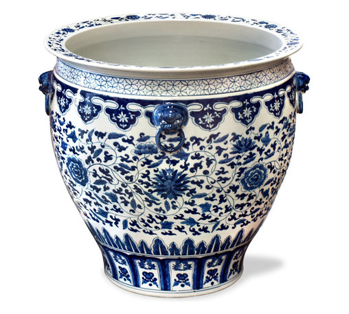 "China Furniture and Arts - 24in Hand Painted Blue and White Canton Fishbowl - Completely hand-made by a ceramist in China, and hand-painted with traditional blue and white motif, brought to China by the British in the early 18th century. Large bowls like these were traditionally used by noble families of ancient China to protect their pond gold fish from the freezing cold of winter. Used today as a cachepot, it gives plants a highly decorative place to put down roots. Stand sold separately, please see ""13.5in Wooden Planter Stand""."