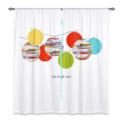 """DiaNoche Designs - Window Curtains Lined by Marci Cheary Lanterns - DiaNoche Designs works with artists from around the world to print their stunning works to many unique home decor items.  Purchasing window curtains just got easier and better! Create a designer look to any of your living spaces with our decorative and unique """"Lined Window Curtains."""" Perfect for the living room, dining room or bedroom, these artistic curtains are an easy and inexpensive way to add color and style when decorating your home.  This is a woven poly material that filters outside light and creates a privacy barrier.  Each package includes two easy-to-hang, 3 inch diameter pole-pocket curtain panels.  The width listed is the total measurement of the two panels.  Curtain rod sold separately. Easy care, machine wash cold, tumble dry low, iron low if needed.  Printed in the USA."""