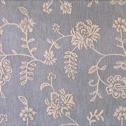 """Verona - Subtle Grace 8'6"""" X 11'6"""" 100% wool pile area rug in light blue - Verona Collection - Subtle Grace 8'6"""" X 11'6"""" 100% wool pile area rug in light blue"""