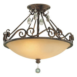 Murray Feiss - Murray Feiss Chateau Traditional Semi Flush Mount Ceiling Light X-ZBM091FS - You don't need to live in a grand home to decorate with this Chateau traditional semi-flush mount ceiling light by Murray Feiss. This detailed fixture, inspired by the chateaus of Southern France, features graceful scrollwork in a mocha bronze finish, hand-polished glass crystals and a beautiful, antique excavation glass shade. It's truly an elegant piece to have in your home.