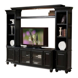 """Acme - 4-Piece Ferla Black Finish Wood Slim Profile Entertainment Center Wall Unit - 4-Piece Ferla black finish wood slim profile entertainment center wall unit with TV stand and side towers. This set features a black finish wood, TV stand with 2 glass front doors and 2 side cabinets, and 2 side towers with a closed cabinet on the bottom, upper shelf and Lighted Bridge. Measures 97"""" x 15"""" D x 78"""" H. TV stand measures 58"""" x 19"""" x 26"""" H. Some assembly required."""