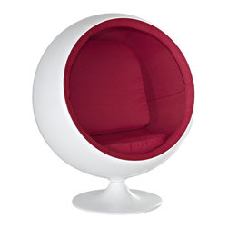 Modway - Kaddur Kids Chair in Red - This retro lounge chair resembles a space-age pod creating a spark of interest in anyone who sees it. The fabric lined inner shell offers a sense of privacy and retreat as you relax into the plush cushions. Its exterior is a wonder; a molded fiberglass shell and matching fiberglass base with an integrated swivel mechanism.