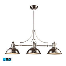 Elk Lighting - Landmark Lighting Chadwick 66125-3-LED 3-Light Billiard/Island Light in Satin Ni - 66125-3-LED 3-Light Billiard/Island Light in Satin Nickel - LED - 800 Lumens belongs to Chadwick Collection by Landmark Lighting The Chadwick Collection Reflects The Beauty Of Hand-Turned Craftsmanship Inspired By Early 20Th Century Lighting And Antiques That Have Surpassed The Test Of Time. This Robust Collection Features Detailing Appropriate For Classic Or Transitional decors. White Glass Compliments The Various Finish Options Including Polished Nickel, Satin Nickel, And Antique Copper. Amber Glass Enriches The OiLED Bronze Finish. - LED, 800 Lumens (2400 Lumens Total) With Full Scale Dimming Range, 60 Watt (180 Watt Total)Equivalent , 120V Replaceable LED Bulb Included Light Billiard (1)