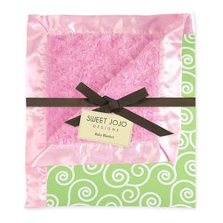 Sweet Jojo Designs - Olivia Pink and Green Minky and Satin Baby Blanket - Baby your baby with this gorgeous, two-sided blanket that's ideal for tummy time. One side features luxuriously soft minky fabric in a textured swirl pattern that baby can explore, cuddle up to or take a snooze on. The smooth sea green side features a lovely white scroll print. It's the perfect shower gift for your favorite baby to be!