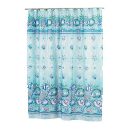 """""""Oceanic"""" Fabric Shower Curtain - """"Oceanic"""" Fabric shower curtain, 100% polyester, size 70""""x72"""". With its vibrant, seascape print, our """"Oceanic"""" Shower Curtain always keeps the ocean nearby. This standard-sized (70'' wide x 72'' long) curtain is 100% polyester, machine washable, and water resistant. The coordinating """"Oceanic"""" window curtain is available separately. Machine wash in warm water, tumble dry, low, light iron as needed"""