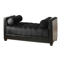 "Uttermost - Uttermost Miron Tufted Bench - Miron Tufted Bench by Uttermost Lustrous Chenille And Plush Button Tufts Get A Fresh, Modern Edge With Tailored Faux Croc At The Base And Sides. Quality Construction With A High Density Seat And Solid Hardwood Frame, Complete With Welted Side Bolsters. Seat Height Is 15""."