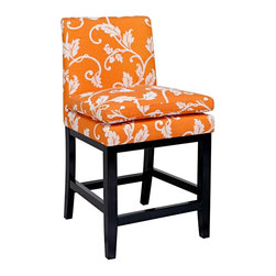 angelo:HOME - angelo:HOME Marnie 24 in. Counter Stool - Pumpkin Blossom Multicolor - BS24-PMF3 - Shop for Stools from Hayneedle.com! The angelo:HOME Marnie 24 in. Counter Stool - Pumpkin Blossom just doesn't look cozy - it is cozy thanks to the comfy pillow top seat. And that's not all - the wood frame is finished in a rich espresso which creates a chic complement to the 100% polyester upholstery. And you'll love the part-vintage part-mod upholstery with its white floral print over a Pumpkin Blossom background. Dressing up your dining area has never been easier.About angelo:HOME:When he was 6 Angelo Surmelis and his family moved from Greece to the United States. In their new home 6-year-old Angelo started dragging furniture around rearranging it. From that early age he believed that your space - and the way it's arranged - can change the way you feel. This philosophy has landed him on design series on TLC Lifetime The Style Network and HGTV as well as several different television talk shows. Now with Angelo's line of furniture and accessories you can change your space - and the way you feel - quickly and affordably.
