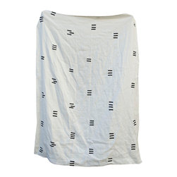 Caroline Z Hurley - Angela Blanket, White - This heavy weight linen blanket is perfect to cozy up with on your couch or in your bed. The material is made of 100 percent linen and is super-duper soft.  All of our blankets are individually block printed by hand with non-toxic ink. Each blanket is pre-washed and ready to be loved.