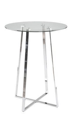 Euro Style - Ursula Bar Table - Clear glass top and industrial strength base make Trave the first name in lasting style.  The statement is crisp lines and clear strength.  Sitting or standing room only!
