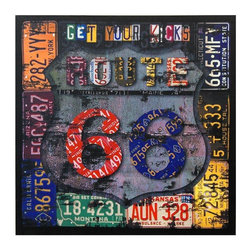 "Oriental Furniture - Route 66 Canvas Wall Art - Bright canvas print enshrining vintage 20th century Americana highway and travel culture. The road sign for iconic U. S. Highway Route 66 is stylized with antique state license plates and a distressed overlay. References the slogan made famous by the song ""(Get Your Kicks On) Route 66"". Great pop culture accent for the home or office, dorm room or garage."