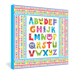 DENY Designs - Andi Bird Alphabet Monsters Gallery Wrapped Canvas - Silly monsters contort into the shapes of the alphabet in this candy-colored art print from designer Andi Bird. What better way to learn your letters? The frameless canvas has no glass to break, making this perfect for a child's room or a playroom.