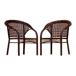 Great Deal Furniture - Malibu Outdoor Patio Wicker Armchairs (Set of 2) - Add comfort to your outdoor experience with these two fan back Malibu chairs. Constructed of durable All-Weather PE Wicker, these chairs add a sophisticated touch to your outdoor decor.