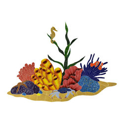 "Glass Tile Oasis - Tropical Reef Pool Accents Multi Color Pool Glossy Ceramic - Sheet size:  24"" x 33""   Tile thickness:  1/4""   Sheet Mount:  Mesh Backed   Sold by the piece   -"