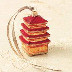 East-Meets-West Pagoda - This red and gold pagoda is an elegant chinoiserie touch for your tree. Pagodas add architectural and vertical elements to the tree, which are added benefits.