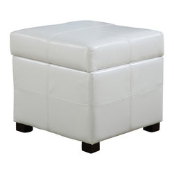 Modus Furniture - Modus Urban Seating Leatherette Storage Cube - White - We created the Urban Seating collection to provide stylish, affordable seating and storage options throughout the home. Great around a table, in a foyer, a game room or a den, chairs are engineered for easy assembly using durable 9 bolt grooved corner block construction and feature web seat cushions for extra comfort. Storage cubes and benches ship fully assembled and feature padded tops, upholstered interiors and built-in wood serving trays. The cubes and benches are a smart accent to any room of the house and are great for storing bed linens, shoes, toys, magazines, gaming accessories and other household clutter. All Urban Seating products are available in a supple leatherette that's durable, stylish and easy to clean.