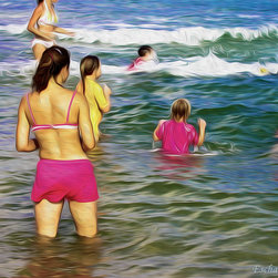 Pink Ocean - Family time at the beach, pink bathing suits provide a bright highlight to the warm ocean tones.  Eschart Studios, 2012.