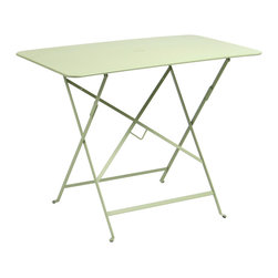 """Fermob - Bistro Rectangular Tables - 15"""" to 46"""" - Dominoes, cards, board games, or just a staring contest, no matter the game, you win with the modern outdoor Bistro Rectangular Table by Fermob Outdoor. Fully collapsible and perfect for any pop-up outdoor parties you want to throw, the Bistro Rectangular Table comes in an array of fun colors to create the perfect scene for an outdoor BBQ or just to watch the sunset with a cold drink."""