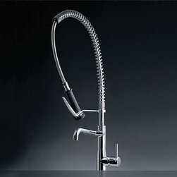 KWC America Systema Single Handle Faucet - If you're looking for restaurant function but residential styling, this is a great option, and it has a matching pull out spray smaller faucet that perfect for an island.