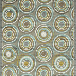 "Loloi Rugs - Loloi Rugs Halton Collection - Grey / Aqua, 3'-10"" x 5'-7"" - The colors are vivid and the transitional designs are appealing, but what really stands out in Halton is the details. Take a closer look (or zoom in) and you'll notice Halton was expertly designed with subtle shadings and intricate patterns to give it the appearance of a hand-crafted rug. Power loomed in Turkey, the viscose surface is raised against a chenille base, giving Halton an element of dimension and texture that adds character and enhances perceived value. Also, the viscose surface has an irresistible shimmer, which further adds to its sophisticated appearance."