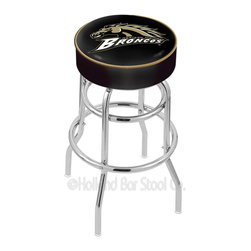 "Holland Bar Stool - Holland Bar Stool L7C1 - 4 Inch Western Michigan Cushion Seat - L7C1 - 4 Inch Western Michigan Cushion Seat w/ Double-Ring Chrome Base Swivel Bar Stool belongs to College Collection by Holland Bar Stool Made for the ultimate sports fan, impress your buddies with this knockout from Holland Bar Stool. This L7C1 retro style logo stool has a 4"" cushion with a tough double-ring base and a chrome finish. Holland Bar Stool uses a detailed screen print process that applies specially formulated epoxy-vinyl ink in numerous stages to produce a sharp, crisp, clear image of your desired logo. You can't find a higher quality logo stool on the market. The structure is triple chrome-plated to ensure a rich, polished finish that will last ages. If you're going to finish your bar or game room, do it right- with a Holland Bar Stool. Barstool (1)"