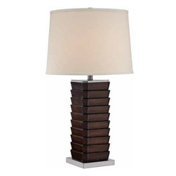 Lite Source - Lite Source Lodovico 100W Incandescent Transitional Table Lamp - The Lodovico table lamp features a distinctive stack of slat design in dark walnut finish. polished steel metal base and hardback linen shade add personality to your contemporary or transitional home furnishings.