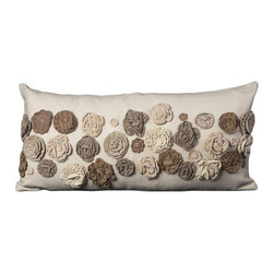 Mina Victory Felt 14 x 30-inch Brown Throw Pillow -