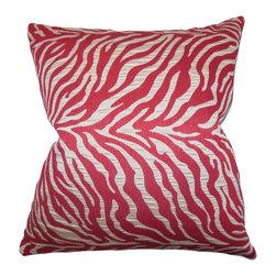 The Pillow Collection - Helaine Zebra Print Pillow Pink - Update the look of your home with this fun and bright square pillow. This accent pillow features a unique zebra print in shades of pink and silver. Add this throw pillow to your sofa, bed or seat for a modern look. Constructed with high-quality and plush materials. Made in the USA.