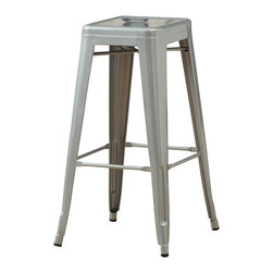 Monarch Specialties - Monarch Specialties I 2402 Silver Galvanized Metal 30 Inch Cafe Barstool [Set of - Bring together contemporary design with galvenized industrial styling, this silver Square Metal Stool is a fashionable statement for all rooms. Built from heavy duty steel, the stool has a stationary seat and multiple footrests for added comfort. This galvanized silver metal finish will brighten any room, allowing it to easily coordinate with your existing decor. Perfect for pulling up to a counter, bar or high top table. Arrives fully assembled. Barstool (2)