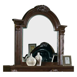 Homelegance - Homelegance Silas Arched Mirror in Rich Cherry - Walking into your bedroom, you stop and stare at the Silas collection. Each detail is a statement of your traditional sense of style - the Rich cherry finish , elaborate twist carvings, button-tufted bonded leather mansion headboard, antiqued hardware and fluted pilasters - elegant and charming. Those details blend in perfect harmony creating the ultimate in grand Old World presence. Also available in sleigh platform bed with footboard storages.