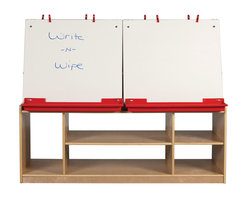 Ecr4kids - Ecr4Kids Art Easel With Storage 4-Station - This double-sided unit allows 4 children to paint comfortably. Each station has a dry-erase board, its own tray for paint cups, easel clips and additional storage below for extra accessories.