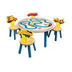 "Room Magic - Trucks Table/4 Chairs set - Our Truck activity table set will drive any boy wild. The table top has roads, road signs and train tracks for boys to drive their toy trucks and trains on.  The 4 chairs with different Trucks on the chair backs make the adorable play set complete. 36"" diameter table, 18"" H"