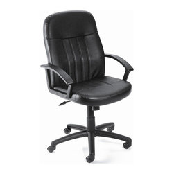 "BOSS Chair - Mid-Back Ergonomic Desk Chair In Black w Arms - With contoured back offering lumbar support and convenient arm rests, this mid-back LeatherPlus is the ergonomic seating solution you need in your office. Don't let its clean styling fool you. This classic swivel chair , upholstered in black has a stable base, adjustable height and tilt tension control and other features that ensure you maintain a comfortable posture as you work. Beautifully upholstered In black LeatherPlus. Softness and durability. Passive ergonomic seating with built in lumber support. Upright locking position. Pneumatic seat height adjustment. Adjustable tilt tension control. Large 27"" nylon base for greater stability. Hooded double wheel casters. Matching guest chair model (B8109). Cushion color: Black. Base/wood: Black. Seat size: 20 in. W x 19 in. D. Seat height: 18 in. -21.5 in. H. Arm height: 25 in. -28.5 in. H. Overall dimension: 27 in. W x 27 in. D x 40.5-44 in. H. Weight capacity: 250 lbs"