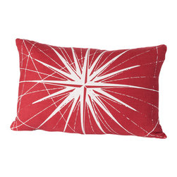 Cricket Radio - Montauk Compass Rose Small Pillow, Red/White - Guide your room in the right style direction. This handmade lumbar pillow features a compass pattern printed in ecofriendly inks on Italian linen, a removable down insert and comes in your choice of colors to easily coordinate with your space.