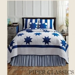 Chesapeake Quilted Bedding - Chesapeake Quilted Bedding features a Le Moyne Star pattern in a nautical navy color on soft white for a fresh country look, 100% cotton shell and fill.