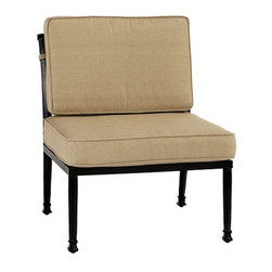 Ballard Designs - Amalfi Armless Lounge Chair - Coordinates with our Amalfi Outdoor Collection. Basic tan cushions included. Sand black finish resists rust and chipping. Extremely strong, yet light enough for easy placement. Replacement cushions available. Requires 1 replacement cushion set per chair. Each piece in the inviting Amalfi Collection is designed to work modularly, so you can customize a comfortable seating group that fits your outdoor space. The Armless Chair is crafted of cast aluminum, so it's sturdy yet lightweight for easy placement. The seat features an intricate basket weave design and the seat back is beautifully scrolled on both sides, so you can enjoy the pattern from behind. Amalfi Armless Chair features: . . . . . Use of an outdoor furniture cover is recommended to extend the life of your piece.