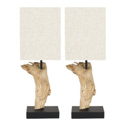 Safavieh - Uragon Root Mini Table Lamp ZMT-LIT5019B (Set of 2) - Bleach; Linen Shade - Eco-friendly and wonderfully casual, the Uragon Mini Table Lamp lends rustic-chic charm to any design theme from coastal cottage to urban loft. Artisans thoroughly clean and bleach found root wood, arrange it in an interesting composition on a black stand, and crown each lamp with a natural shade woven of eco-friendly hemp. (Sold in set of 2).