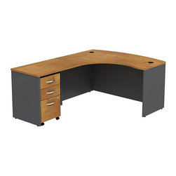 "BBF - BBF Series C 60W x 43D LH L-Desk with 3Dwr Mobile Pedestal - BBF - Computer Desks - SRC007NCLSU - Clean and classic the BBF Series C L-Desk creates a professional workspace anywhere. The ample space of the 60""W x 43""D L-Bow Desk Shell and 36""W Return Bridge provide individual work space while the bow front offers seating space for visitors or collaboration work. Comprised of a thermally fused laminate the oversize work surface boasts a durable finish that resists scratches and stains to maintain its good looks. An integrated wire management system provides desktop grommets to assist in keeping the work surface clean and looking professional. A 3-Drawer Mobile Pedestal unit rounds out this office featuring two box drawers to keep office supplies close and a single file drawer which accommodates letter legal and A4 size files and a front face locking system to secure the file drawer and lower box drawer. Operating on full-extension ball bearing slides each drawer provides full content access and the convenient mobile unit fits neatly under the desktop to minimize the office footprint. With a finish to match any decor additional BBF Series C pieces allow for additional configurations as your needs evolve and grow. Solid construction meets ANSI/BIFMA test standards in place at time of manufacture; this product is American Made and is backed by BBF 10-Year Warranty."