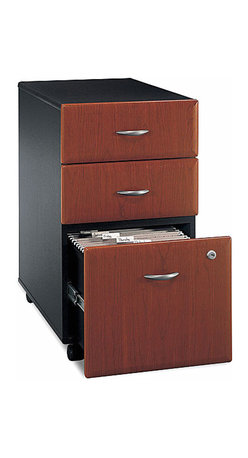 Bush Business - Fully Assembled Three Drawer File Cabinet in - Aside from its suitable height, the casters on the base of this three drawer cabinet allow it to conveniently roll under any series C desk shell, then back out again, and then to anywhere that is most convenient for you.  Its lower drawer is a file cabinet which holds letter or legal size files.  For shared or private offices and when space is at a premium, the Hansen Cherry File Cabinet is a wonderful choice.  It arrives fully assembled with stylish pulls and full-faced three drawers for office supplies and hanging folders.  Casters add mobility for versatility and value. * Rolls under any Series C desk shell. File drawer holds letter- or legal-size files. Fully finished drawer interiors. Fully assembled case goods. File drawer extends on full extension, ball-bearing slides. Two box drawershold small office supplies. One lock secures bottom two drawers. Casters for easy mobility. Fits under 36 in., 48 in., 60 in. and 72 in. Desks. 15.512 in. W x 20.276 in. D x 28.150 in. H
