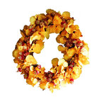 """The Firefly Garden - Oktoberfest - Illuminated Floral Design - Oktoberfest is inspired by the rich colors of Autumn and the celebrations that come along with it.  This 21"""" lighted wreath is made with lush yellow Aspen leaves accented with burgundy hops blossoms, and illuminated by warm amber battery operated LED lights."""